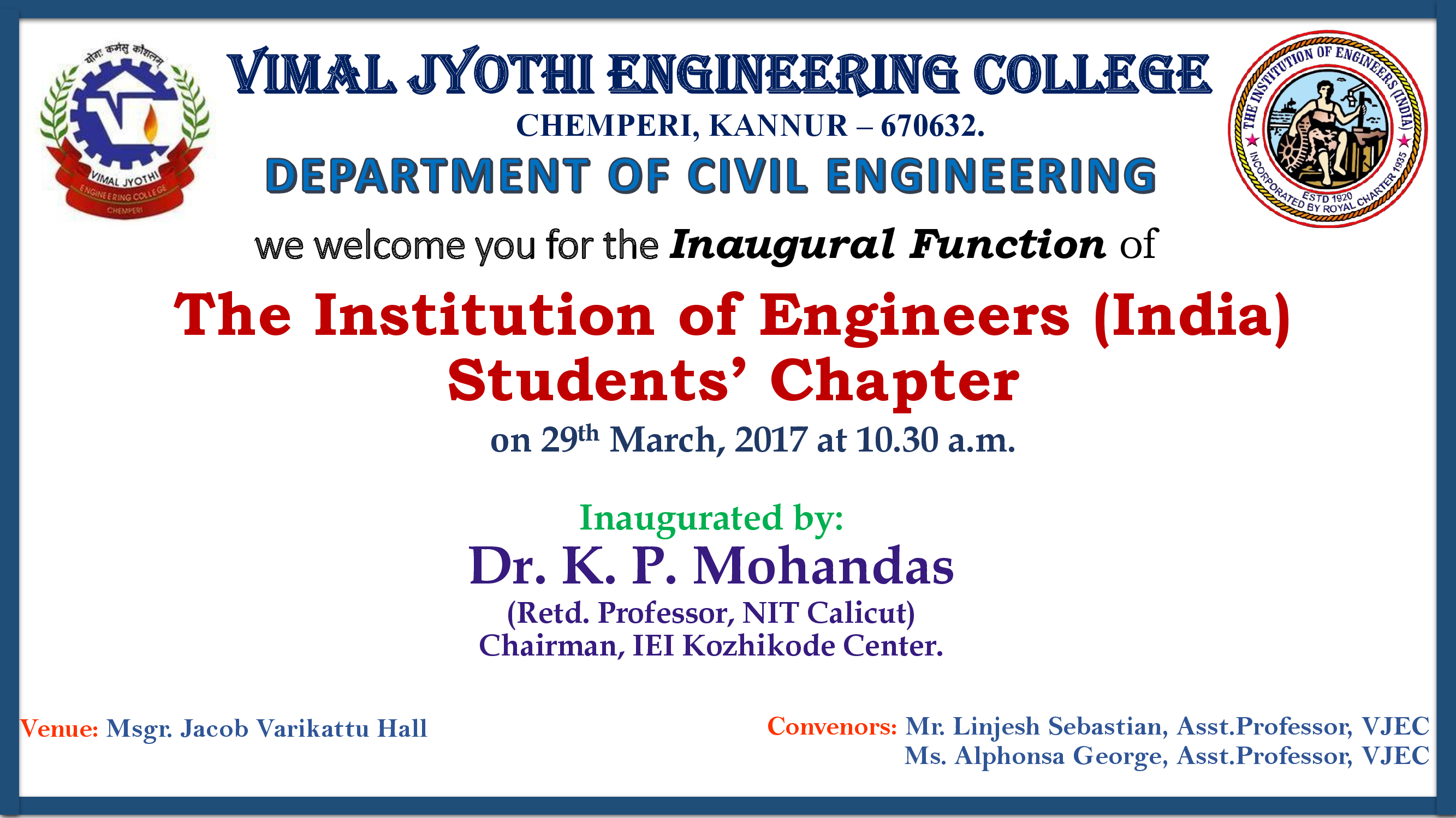 Invitation - Inaugural function of Institution of Engineers (India) Students Chapter